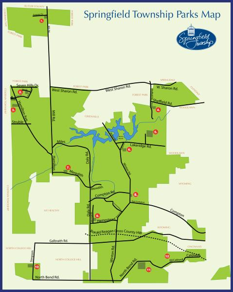 Map Of Township Parks  Springfield Township OH